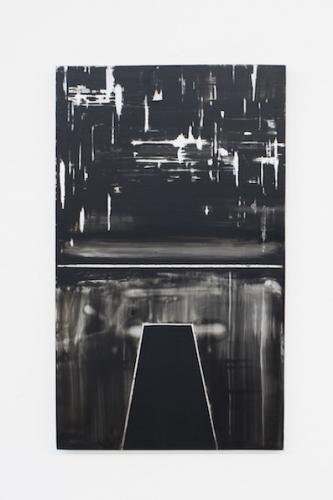 Taking the Leap (Study), 2011, peinture émaillée sur miroir monté sur bois, 50 x 30 cm © Bertrand Stofleth / La Salle de bains